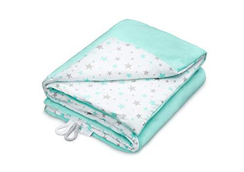 EliMeli Babydecke Kuscheldecke Krabbeldecke 75x100 super weichem Polar Fleece | 100% Baumwolle | Füllung | Super Crystal | hoch Qualität | Plüschdecke perfekt für Babys (Mint - Mint Stars)