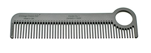 Chicago Comb Model 1 Carbon Fiber, Made in USA, ultra smooth, strong, and light, anti-static, heat-resistant, 5.5 inches (14 cm) long, ultimate daily use, pocket, and travel comb