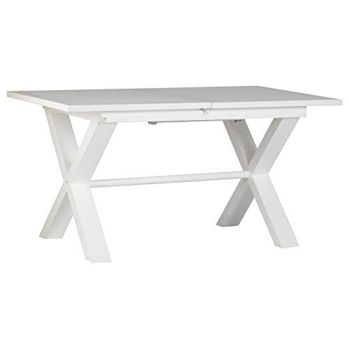Naish Table À Rallonges 150/200 Blanche - Bois - 150x90x77 cm - Couleur Blanc Winter