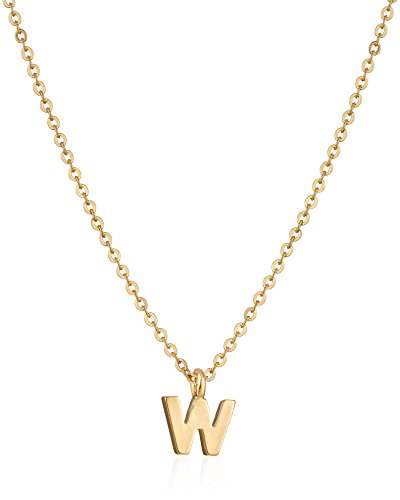 1928 Jewelry Gold-Tone 7mm Initial 'W' Pendant Necklace, 20'