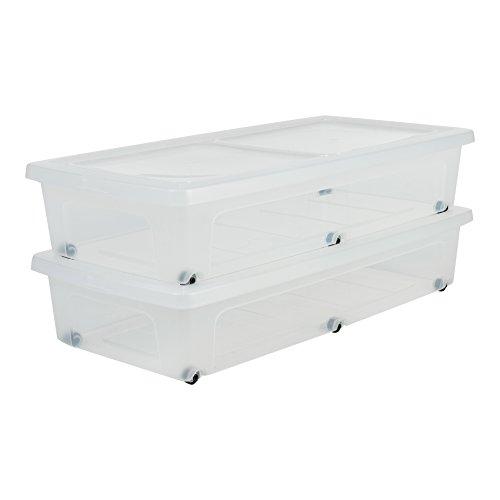 Amazon Marke - Iris Ohyama 135460, 2er-Set Unterbettboxen / Rollerboxen / Aufbewahrungsboxen 'Modular Clear Box Under Bed', MCB-UB, mit 6 Rollen, Plastik, transparentes Grau, 35 L, 80 x 40 x 16 cm