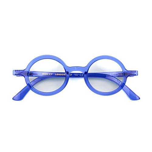 LONDON MOLE Eyeware   Moley Reading Glasses   Round Glasses   Cool Readers   Men's Women's Unisex   Spring Hinges   Transparent Blue   +2.5