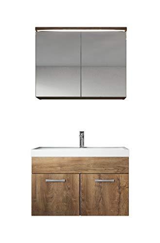 Badkamermeubelset Paso 02 80cm wastafel eiken - badkamermeubel meubel spiegelkast