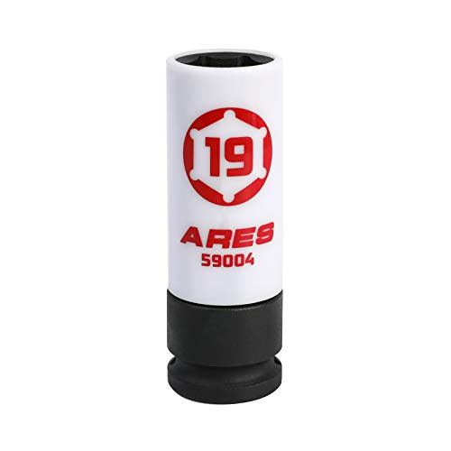 ARES 59004-19mm 1/2-Inch Drive Non-Marring Lug Nut Socket - Protective Sleeve Prevents Damage to Custom Rims & Lug Nuts - Color Coded & Laser Etched for Easy Identification