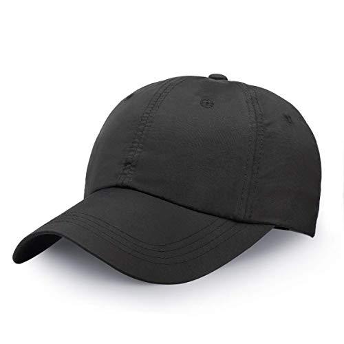 Gorra de béisbol clásica con protección solar UPF 50, secado rápido, sin estructurar, unisex, color negro