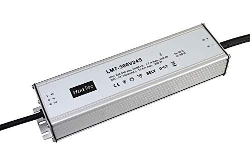 HuaTec LED Trafo 24V 300W Konstantspannung IP67 Wasserdicht für LED Streifen Lampen LED Netzteil Driver Treiber Transformator
