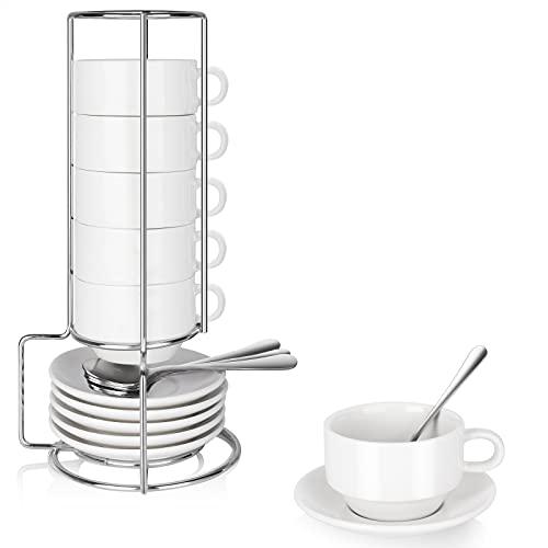 6 Pcs Espresso Cups and Saucers with Espresso Spoons, DeeCoo 3.5 oz Stackable Ceramic Espresso Mugs, Porcelain Espresso Cups Set with Saucers and Metal Stand for Espresso, Latte, Cafe Mocha and Tea