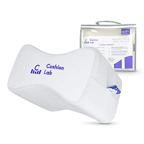 Cushion Lab Extra Dense Orthopedic Knee Pillow for Side Sleepers w/ Hypoallergenic Cover - Firm Leg Support for Hip, Pregnancy, Sciatica, Joint, Spine, Back Pain Relief - Memory Foam Contour Wedge