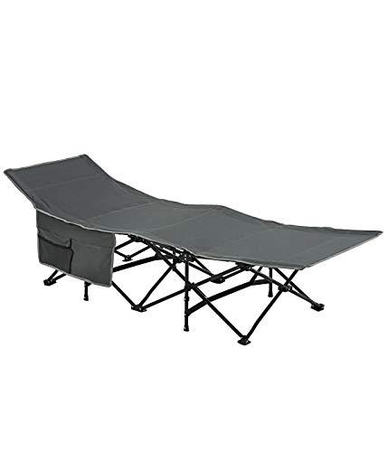 Dehner Camping-Liege Palma, klappbar, ca.104 x 29 x 23 cm, Stahl/Baumwolle, grau