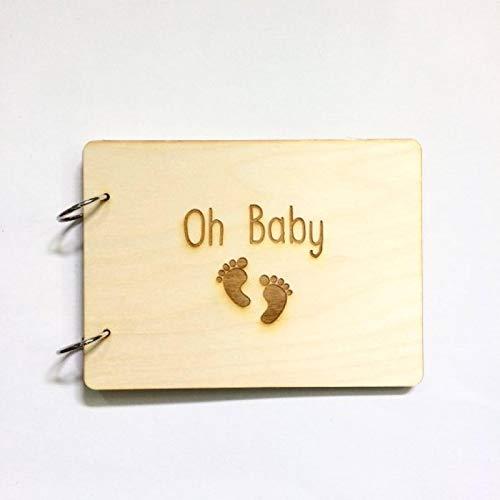 siqiwl Libro de visitas de madera, libro de visitas, álbum de fotos de baby shower, regalo de fiesta de cumpleaños, libro de visitas, 50 páginas, papel blanco