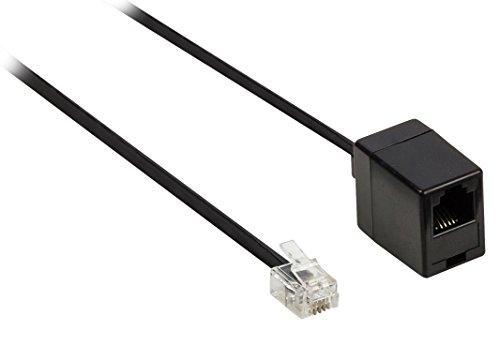 Valueline Telefonverlängerungskabel (RJ11-Stecker auf RJ11-Buchse, 10 m) schwarz