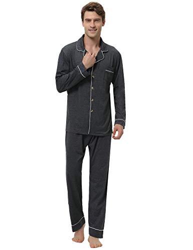 Aibrou Herren Baumwolle Pyjama Set, Einfarbiger Zweiteiliger Schlafanzug Langarm Shirt und Pyjamahose Dunkelgrau XL