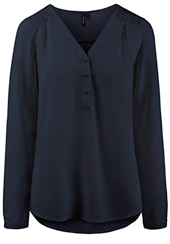 VERO MODA Tulip Damen Tunika Bluse Langarm Mit V-Ausschnitt, Größe:S, Farbe:Navy Blazer