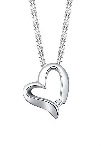 Elli PREMIUM Collares Mujer Colgante de Corazón con Diamante (0.015 ct.) en Plata Esterlina 925