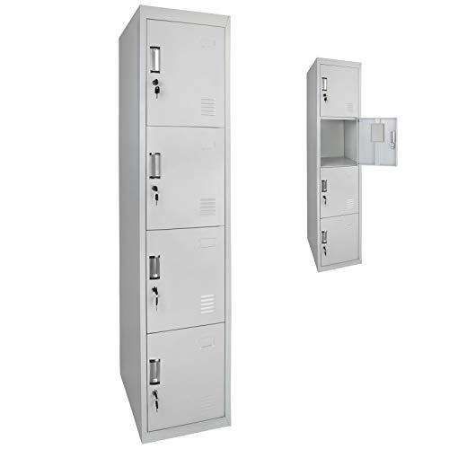 Spind Schließfachschrank Metallschrank Mehrzweckschrank 4 Abteile 180 x 38 x 45 cm ; Grau-Grau
