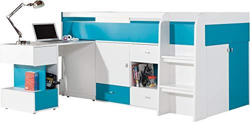 """Ensemble de meubles pour enfants """"MOBI System 21"""". Mezzanine/Lit superposé, bureau, étagères (Tout en un).(matelas non inclus). Blanc/Bleu"""