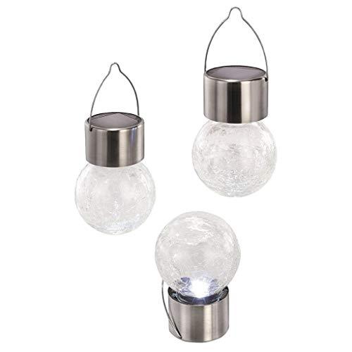 HOMZYY Solar hanglamp glazen bol LED landschapslicht tuin kerstdecoratie licht tuin terras decoratie nachtlampje Fairy Light (4 Pack) Wit licht.