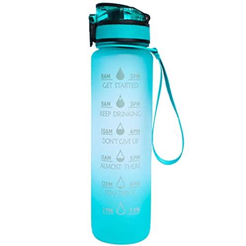 LIBAITIAN 1 Litro Botella De Agua Deportiva con Marcador De Tiempo Motivacional, Filtro De Infuso De Frutas Y De Limpieza, A Prueba De Fugas, Plástico Tritan Sin Bpa