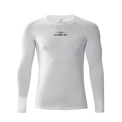 Camiseta de Compresión de Manga Larga Térmica Secado Rápido para Deportivos Running Fitness Hombre Blanco Medium