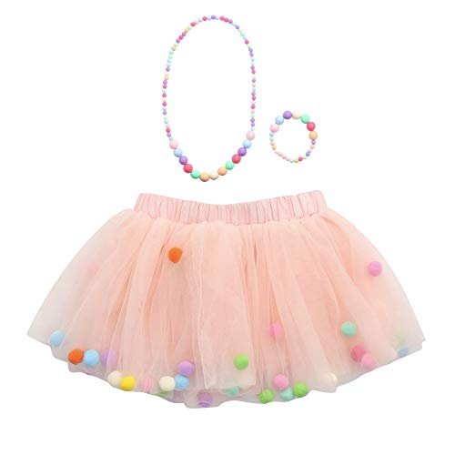 Xmiral Kinder Baby Mädchen 4-Lagen Mesh Mini Tutu Rock + Armband + Halskette Ballet Unterrock Outfit Party Prinzessin Tüllrock(b Rosa,M)