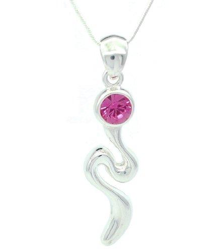Rosa Cristales de Swarovski Zig Zag, Lightning Fashion Drop con forma de lámpara de techo/collar con colgante en forma
