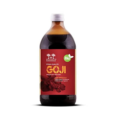 SUCCO DI GOJI BIO Salugea - 100% Puro e Naturale - Integratore energizzante e saziante, ricco di vitamine, sali minerali e aminoacidi - 500 ml - Flacone in vetro scuro farmaceutico