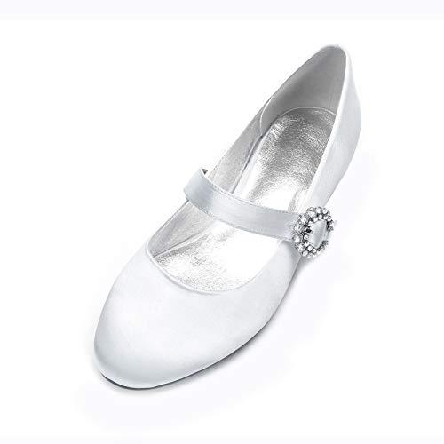 AQTEC Zapatos de Boda para Mujer Bajo Talón Cerrado Dedo del Pie...