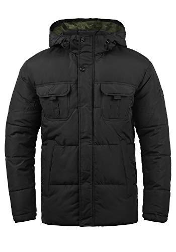 JACK & JONES Core Jaap Herren Winter Jacke Steppjacke Winterjacke gefüttert mit Kapuze, Größe:L, Farbe:Black