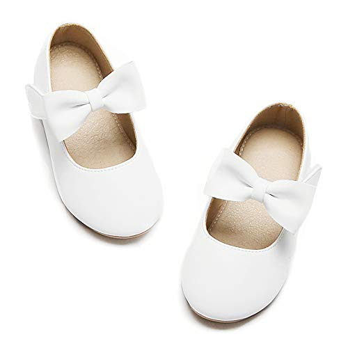 Felix & Flora Girls Mary Jane Flat Dress Shoe for Toddler Little Kid Party School (7 Toddler White)
