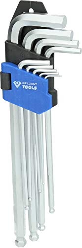 Brilliant Tools BT045019 Jeu de clés 6 pans Longues à tête sphérique. 9 pcs, Bleu/Noir, 9-TLG