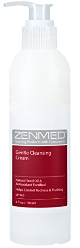 ZENMED Gentle Cleansing Cream - 6 oz. 100% Vegetarian Natural See Oil & Antioxidant Fortified Help Control Redness & Flushing pH 6.0 Soap-Free Will Not Over-Dry