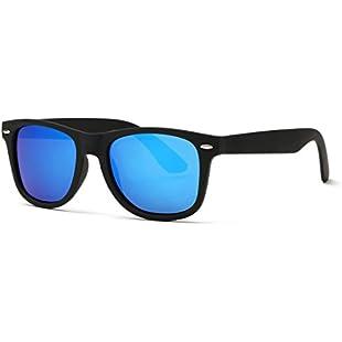 Customer reviews Kimorn Polarized Sunglasses Classic Unisex Horn Rimmed 80's Retor Eyewear AE0300 (Black&Light Blue, 52)