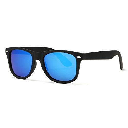 kimorn Polarizado Gafas De Sol Clásico Unisexo Cuerno Rimmed Años 80 Retro AE0300 (Negro&Azul claro, 52)