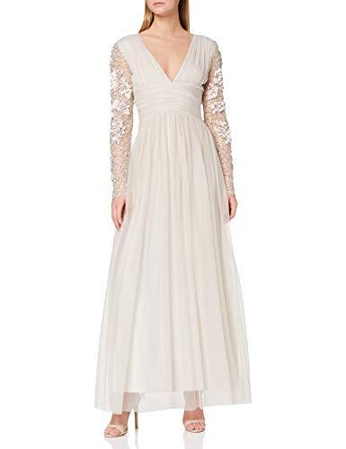 Amelia Rose Damen Embellished Sleeve Maxi Dress Cocktailkleid, Windspiel grau, 38