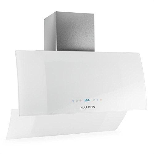 Klarstein Annabelle Eco 90 Campana extractora de pared - 90cm, Clase energética A, Función Aspiración/Ventilación, 3 Niveles potencia, 650 m³/h, Mando a distancia, Control táctil, LED, Blanco