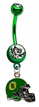 "Oregon Ducks ""Football Helmet"" PREMIUM Green Titanium Anodized Sexy Belly Button Navel Ring"
