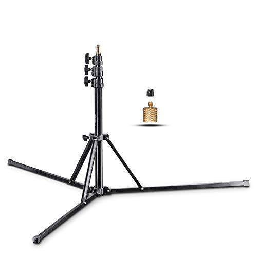 Walimex pro GN-806 Lampenstativ 215cm - klappbares kompaktes Lichtstativ aus Aluminium, Höhe 57-215 cm Traglast 5kg, für Fotografie Studio Mobil Video Blitz Softbox Ringlicht mit Tasche + Adapter