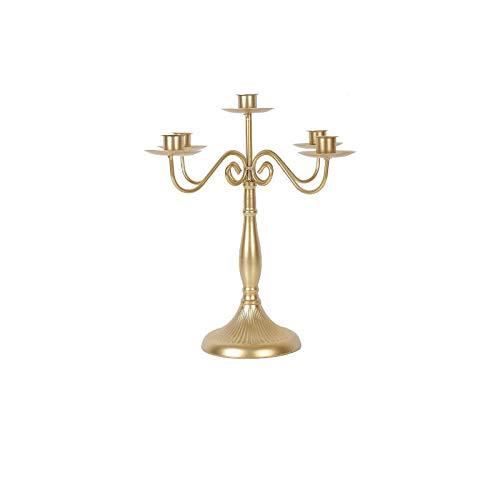KDBEB Eisen Kerzenstã¤Nder 5-flammig Stabkerzenhalter in Gold Höhe 11.82in/30cm Kerzenhalter Hoch für Wohnzimmer Hochzeit Wohnaccessoires Kerzenhalter