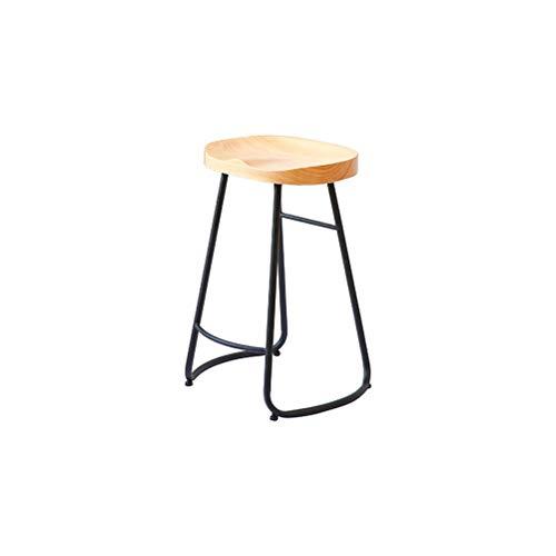 XINGPING-Furniture Moderne Simple Art De Fer Art Massif Bar Chaise En Bois Haut Stand À La Mode Creative Café Bar Chaise Tabouret (taille : 75cm)