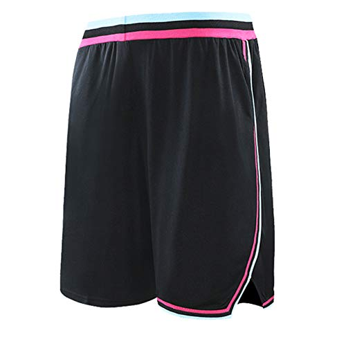 WWWJ Herren-Shorts, schwarz, Hartholz, klassisches Primär-Logo, Swingman-Shorts, Fitness-Shorts, Herren-Lauf-Shorts Gr. XL, weiß