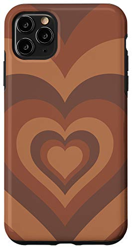 iPhone 11 Pro Max Brown Heart Phone Case Chocolate Lover Coffee Love Gift Case