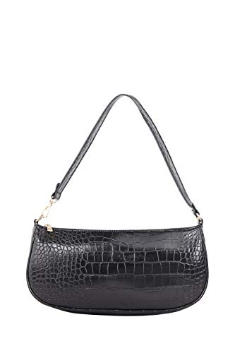 Yours Clothing Women's Croc Shoulder Bag Size One Size Black