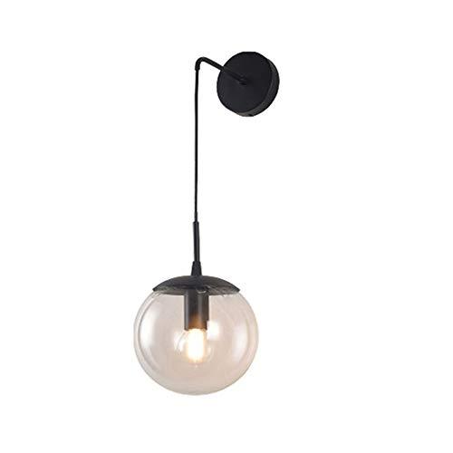 HJXDtech - Lámpara de pared con bola de cristal, lámpara de pared, de latón E27, casquillo de gota, lámpara de noche, para salón, dormitorio, 20 cm, color gris