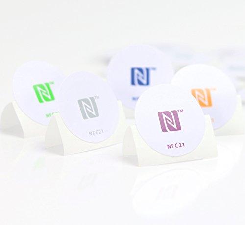NFC Tag Sticker-Aufkleber 215 wie u. a. in Amiibo Figuren, 5 Stück in 30 mm, 5, kompatibel mit Allen NFC-fähigen Smartphones, NXP NFC Chip NTAG 215