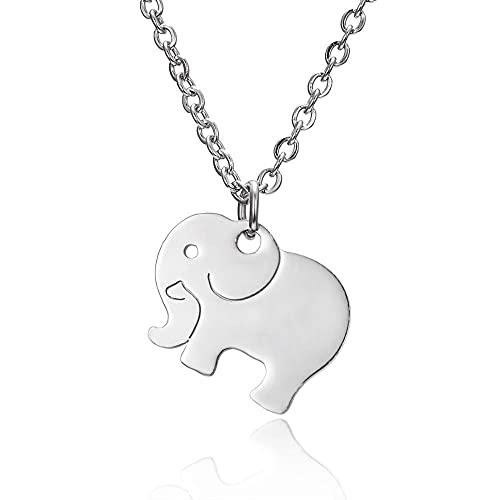 Collar de cadena larga con colgante de elefante bonito de acero inoxidable de Color plateado para mujer, regalo de joyería con dijes femeninos