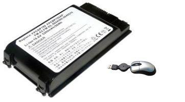 amsahr BP192-05 vervangende batterij voor Fujitsu BP192, FMV-A2200, FMV-A6250, FMV-A6260, FMV-A6270 - Omvat mini optische muis zwart