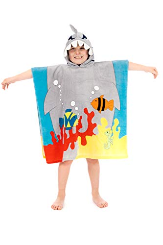 mächtig Schwimmponcho mit Kapuze, 100% Baumwolle, 7 Design Gr.Es passt für alle eine Größe, Hallo