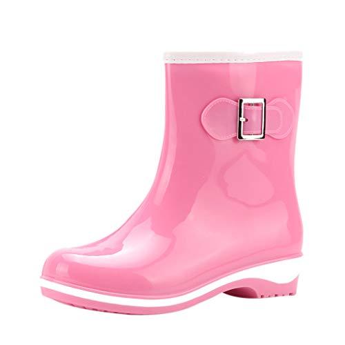 Wellies/Dorical Damen Gummistiefel 11cm Tall Gloss Waterproof Fashion Halbschaft Regenstiefel Rain Boots Middle-Heels Wasserdicht Stiefel Casual Schuhe rutschfest für Frauen 36-41 EU(Rosa,38 EU)