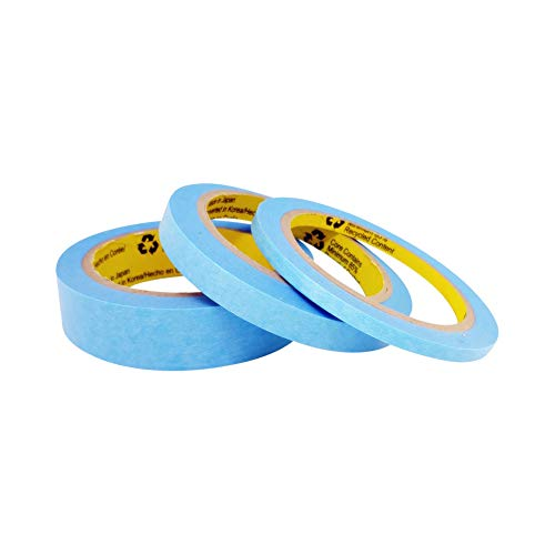 Blue Painters Tape Washi Paper - Assorted Size Multi Pack 44 Yard - No Residue Masking Tape for Painting Drafting Craft - Delicate Surfaces - Heat Resistant - Thin Thick (1/4 x 1/2 x 1 Inch - 3pK)