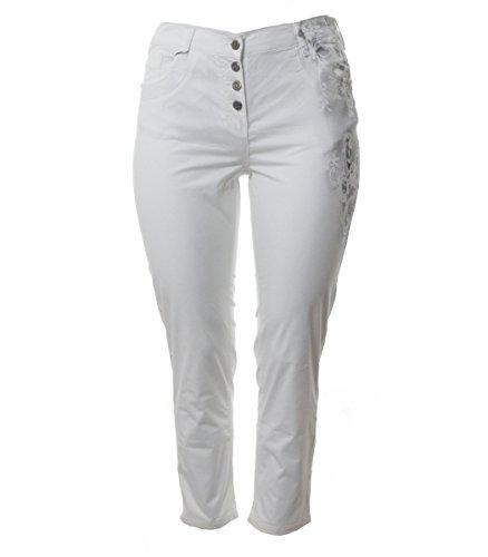 No Secret Weiße Sommer-Jeans Damen in Kurzgröße große Größen Marken Sommer Hose kurz-Größe Knöpfe, Größe:44